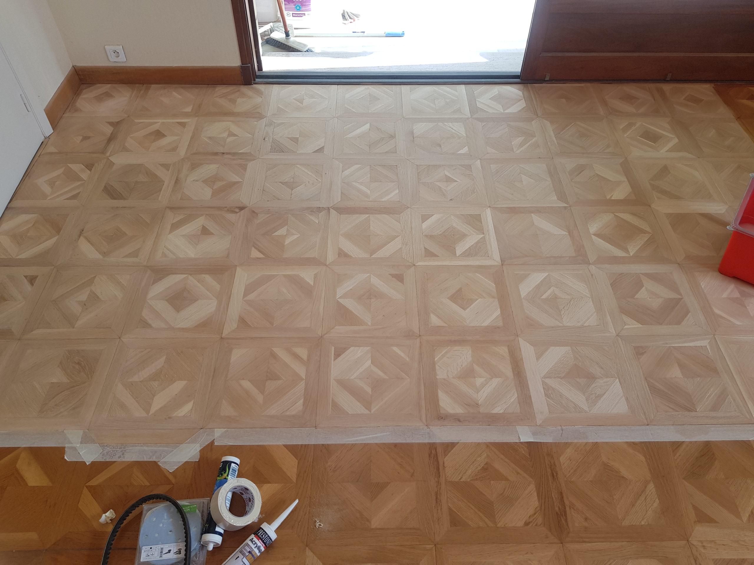 Réparation + rénovation de parquet mosaïque